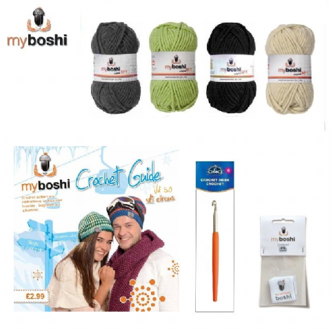Green - Makes 3 x Myboshi Ski Circus Beanies & Hats - Intermediate to Advanced Crochet Kit